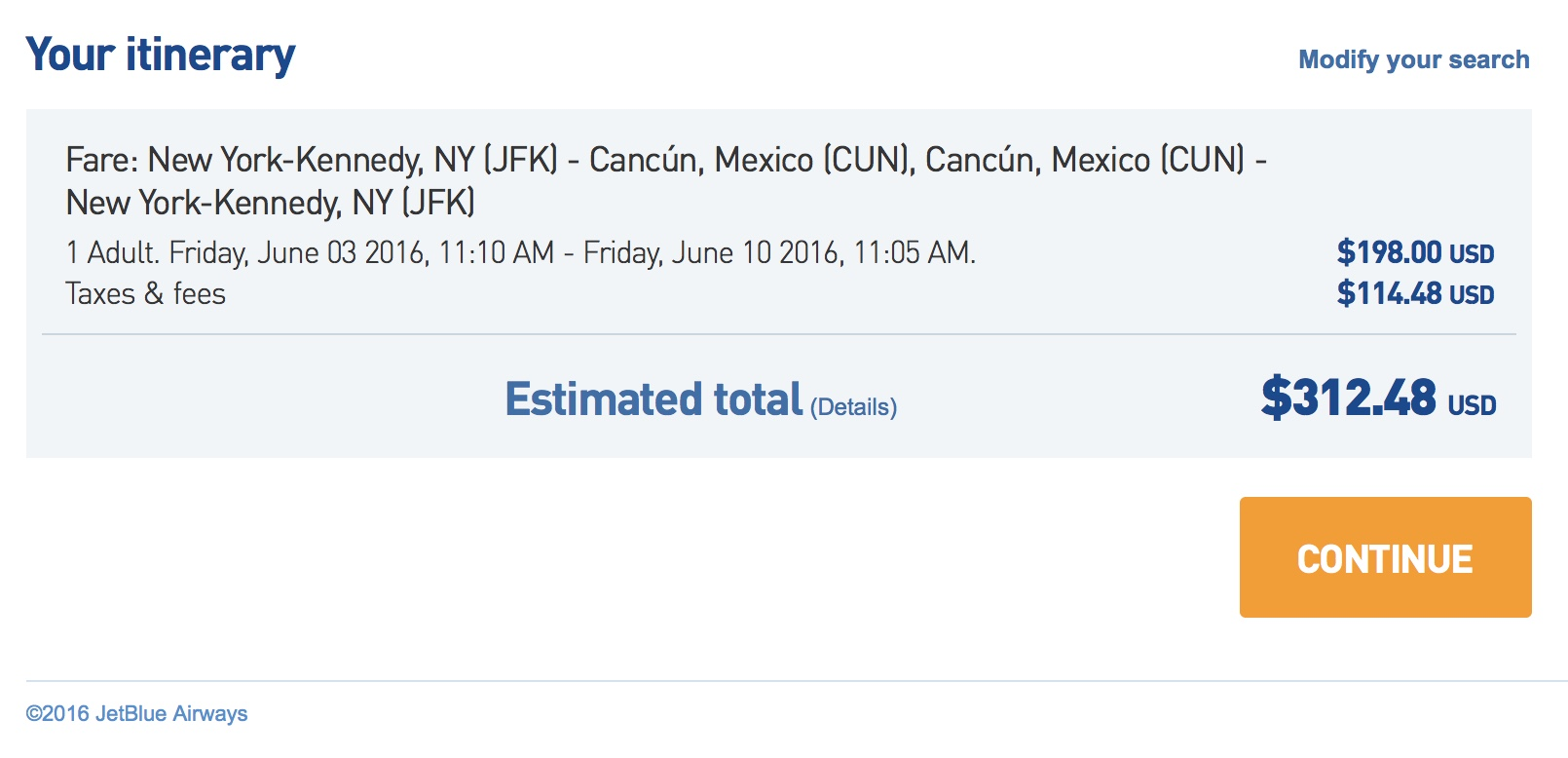 JFK to CUN for $315